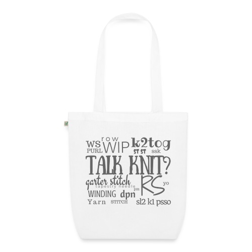 Talk Knit ?, gray - EarthPositive Tote Bag