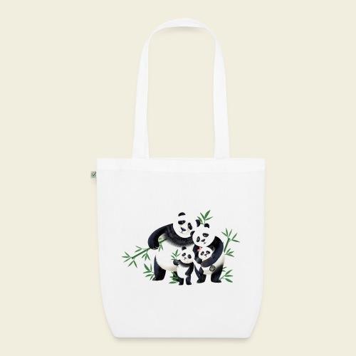 Pandafamilie zwei Kinder - Bio-Stoffbeutel