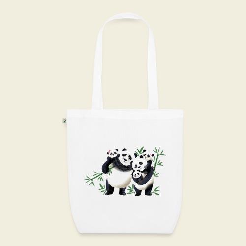 Pandafamilie drei Kinder - Bio-Stoffbeutel
