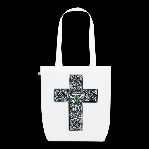 Wolf s Head Cross Silver - EarthPositive Tote Bag