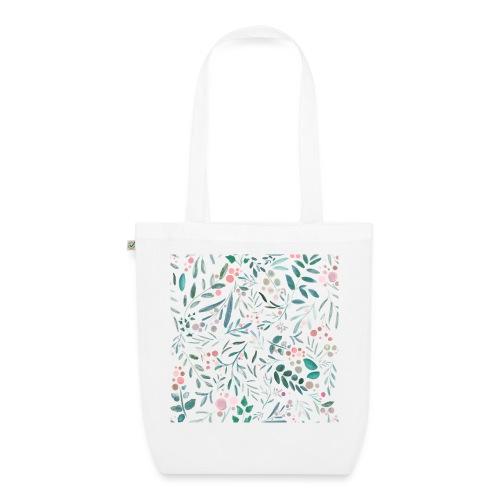 floral pattern, acquerello di fiori e foglie - Borsa ecologica in tessuto