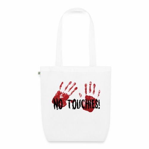No Touchies 2 Bloody Hands Behind Black Text - EarthPositive Tote Bag