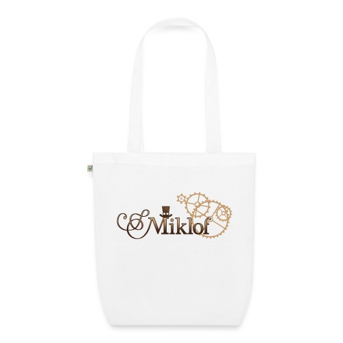 miklof logo gold wood gradient 3000px - EarthPositive Tote Bag