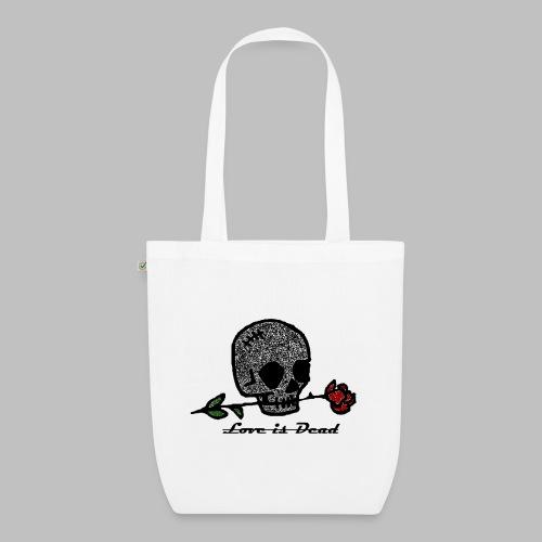 Love Is Dead Custom Skull Design - Bio stoffen tas