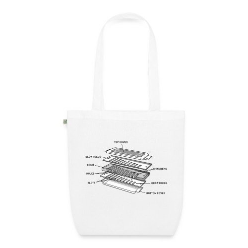 Exploded harmonica - black text - EarthPositive Tote Bag