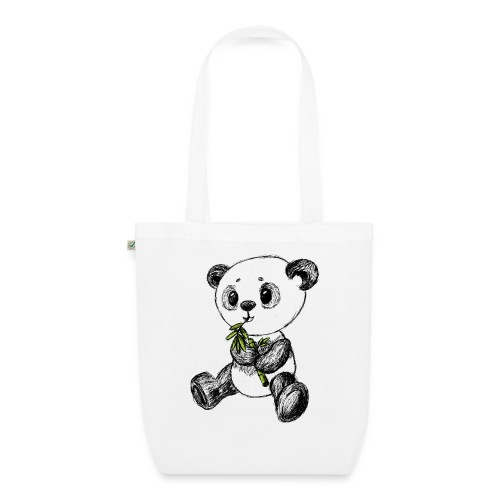 Panda Karhu värillinen scribblesirii - Luomu-kangaskassi