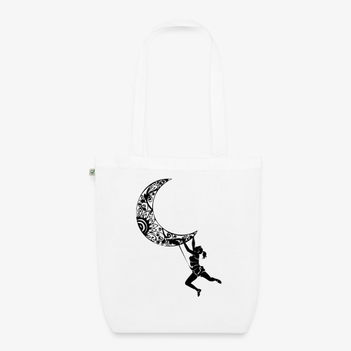 Climbing Woman Girl moon - Climber on the moon - EarthPositive Tote Bag