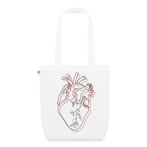 coeur rouge - Sac en tissu biologique