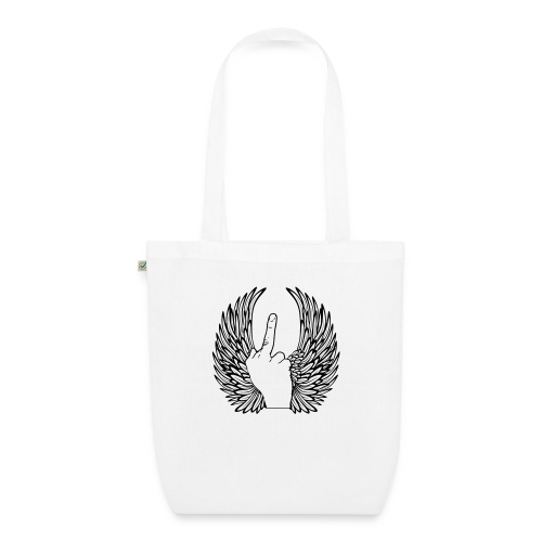 middle finger with wings - Bio stoffen tas