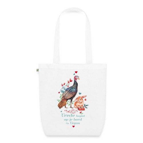 Peace begins on your plate. Go vegan. - EarthPositive Tote Bag