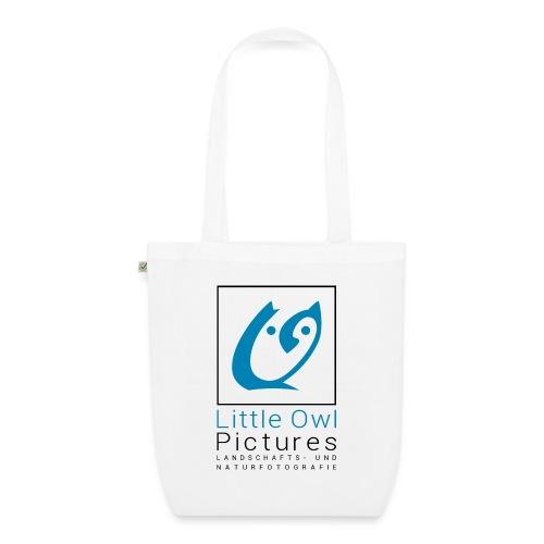 Little Owl Pictures Logo (schwarz/blau) - Bio-Stoffbeutel