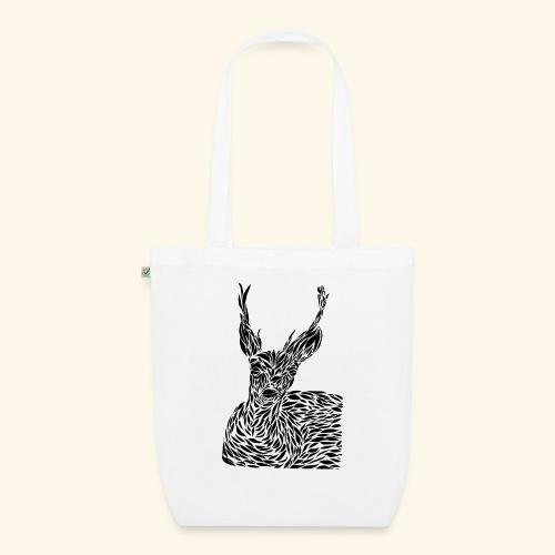 deer black and white - Luomu-kangaskassi