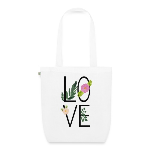 Love Sign with flowers - EarthPositive Tote Bag