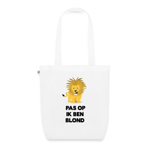 Pas op ik ben blond een cartoon van blonde leeuw - Bio stoffen tas