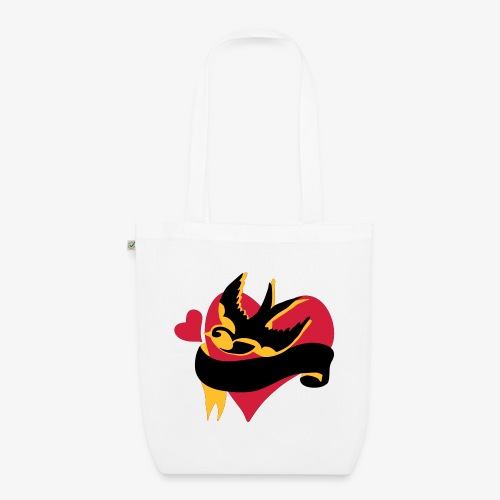 retro tattoo bird with heart - EarthPositive Tote Bag