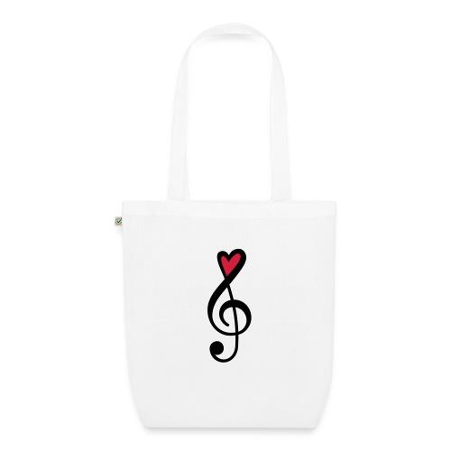 Notenschlüssel Herz rot Musik - Bio-Stoffbeutel