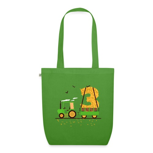 Traktor mit Anhänger 3. Geburtstag Geschenk Drei - Bio-Stoffbeutel