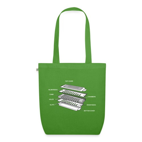 Exploded harmonica - white text - EarthPositive Tote Bag