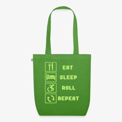 >Eten, slapen, rollen met rolstoel en herhalen 001 - Bio stoffen tas