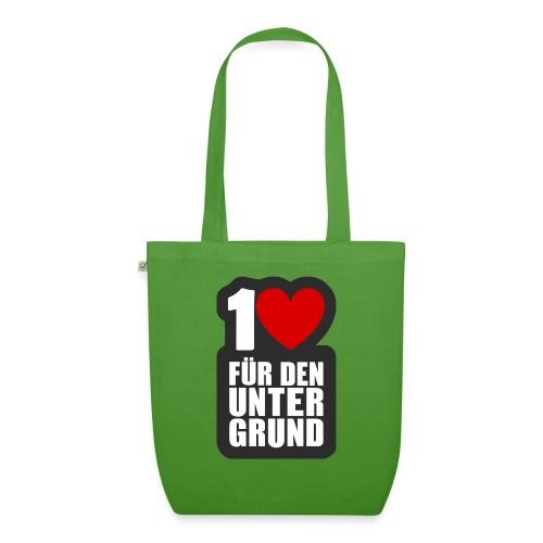1 Herz für den Untergrund - Logo grau - Bio-Stoffbeutel