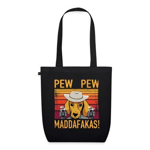 PEW PEW Maddafakas! Dackel Cowboy Vintage funny - Bio-Stoffbeutel