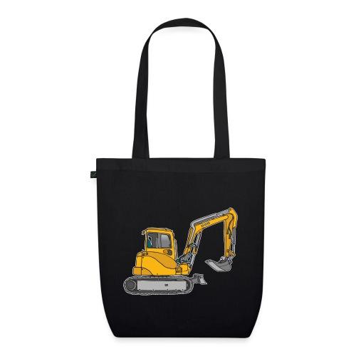 BAGGER, gelbe Baumaschine mit Schaufel und Ketten - Bio-Stoffbeutel