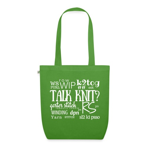 Talk Knit ?, white - EarthPositive Tote Bag