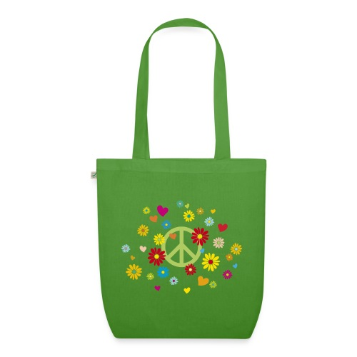 Peacezeichen Blumen Herz flower power Valentinstag - EarthPositive Tote Bag