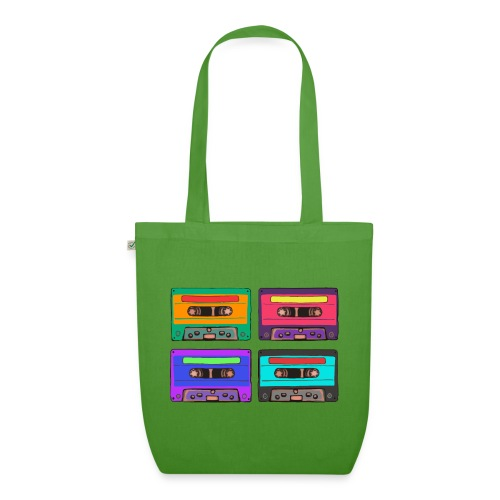 Colorful Cassettes square - Ekologisk tygväska