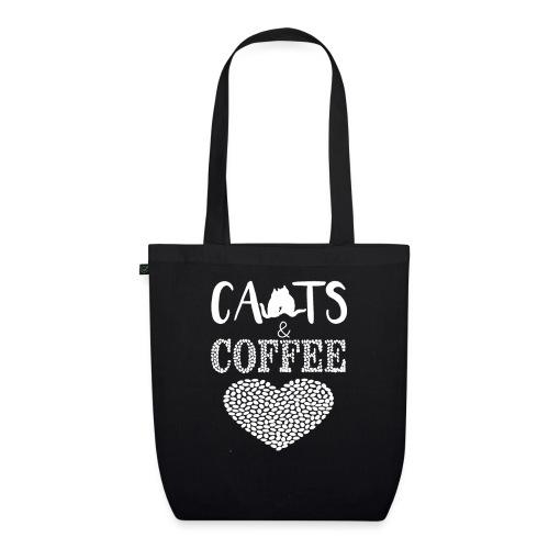 Katzen und Kaffee Liebe Weisse Schrift - Bio-Stoffbeutel