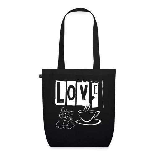 Love Katzen und Kaffee Liebe - Bio-Stoffbeutel