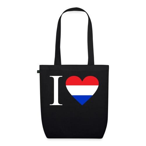 Ik hou van Nederland | Hart met rood wit blauw - Bio stoffen tas