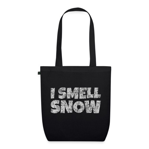 I Smell Snow (Grau) Schnee, Winter, Wintersport - Bio-Stoffbeutel