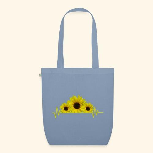 Sonnenblumen Herzschlag Sonnenblume Blumen Blüten - Bio-Stoffbeutel