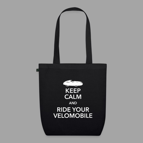 Keep calm and ride your velomobile white - Luomu-kangaskassi