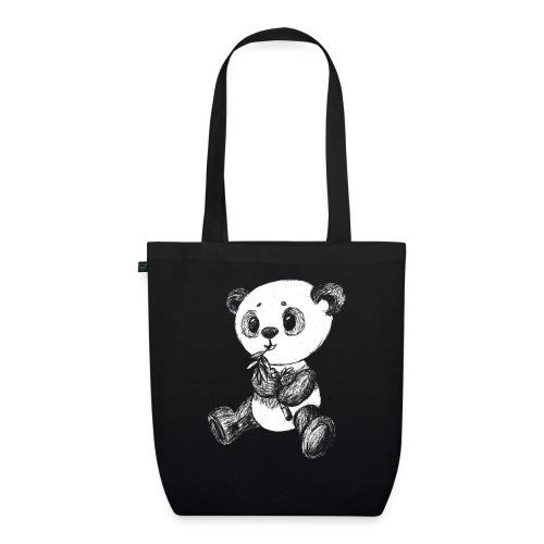 Panda bjørn hvid scribblesirii - Øko-stoftaske
