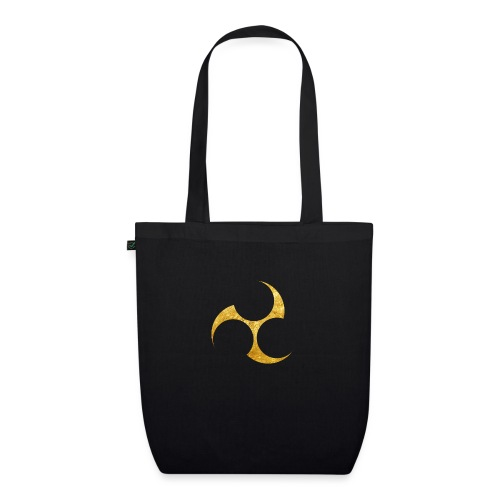 Kobayakawa Mon Japanese clan gold on black - EarthPositive Tote Bag