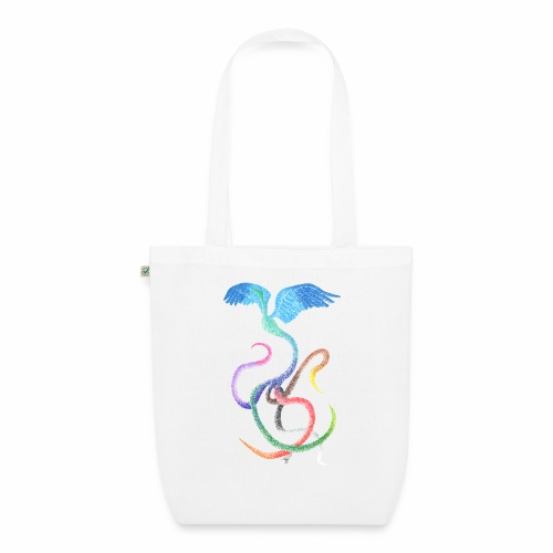 Graceful - Rainbow Bird in Ink - EarthPositive Tote Bag