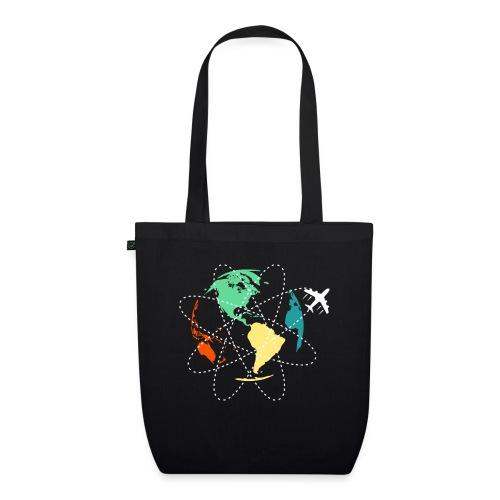 Reisen Weltreise Flugzeug Travelshirt Erde - Bio-Stoffbeutel