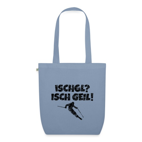 Ischgl Ischgeil (Vintage Schwarz) Ski Skifahrer - Bio-Stoffbeutel