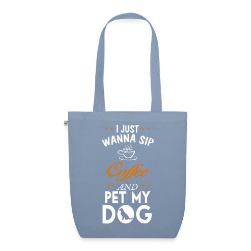 Kaffee trinken und Hunde streicheln - Happy! - Bio-Stoffbeutel