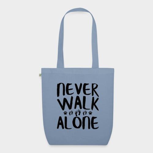 NEVER WALK ALONE   Hunde Sprüche Fußabdruck Pfote - Bio-Stoffbeutel