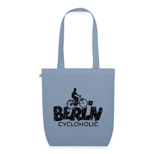 Berlin Cycloholic (Vintage/Schwarz) Fahrradfahrer - Bio-Stoffbeutel