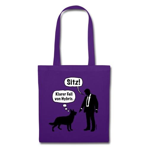 Cartoon, Hund & Herrchen: Sitz! Hybris. (2C) - Stoffbeutel