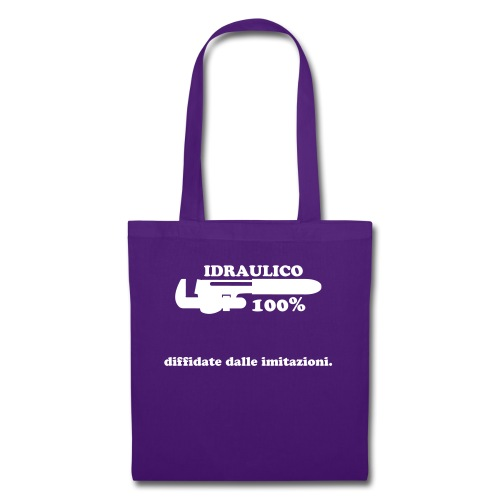 Idraulico 100% Logo XL BIANCO - Borsa di stoffa