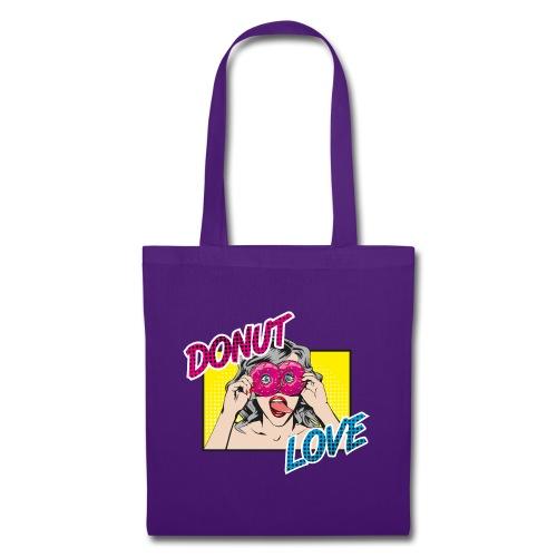 Popart - Donut Love - Zunge - Süßigkeit - Stoffbeutel