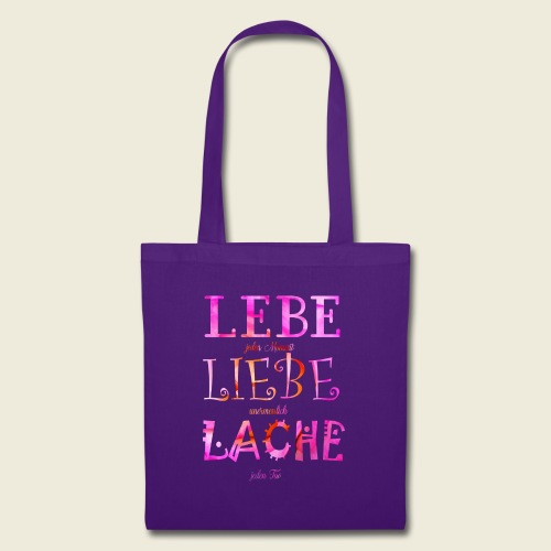 Lebe Liebe Lache pink rosa - Stoffbeutel