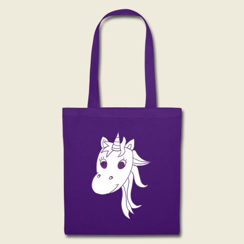 Einhorn Unicorna einfarbig weiß lila - Stoffbeutel