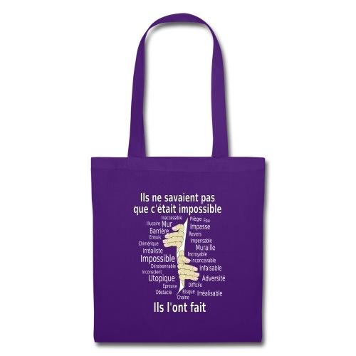 Impossible et fait Hommes mains Fond Sombre - Tote Bag