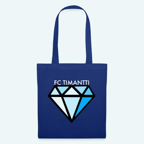 FCTimantti logo valkteksti futura - Kangaskassi